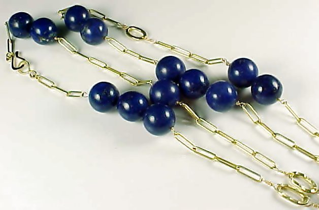 Large Lapis Bead Gold Chain Link Necklace
