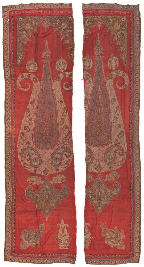 Two Kirman Embroidery Fragments 266 x 55 cm & 266 x 70