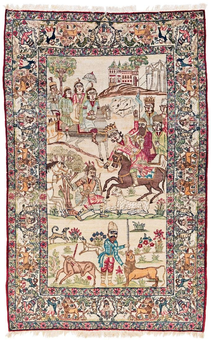 Kirman pictorial rug signed