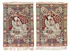 Pair of Kirman Laver pictorial rugs
