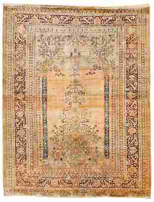 Tabriz Silk Persia ca. 1900 163 x 127 cm (5ft. 4in. X