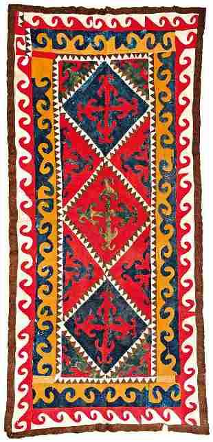 Felt Carpet Uzbekistan ca. 1920 443 x 201 cm (14ft.