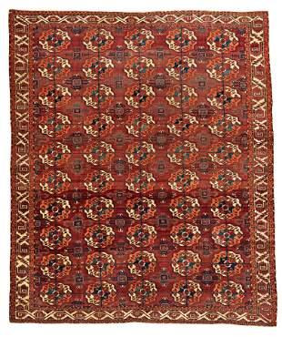 Early Tekke Main Carpet with White Ground Border