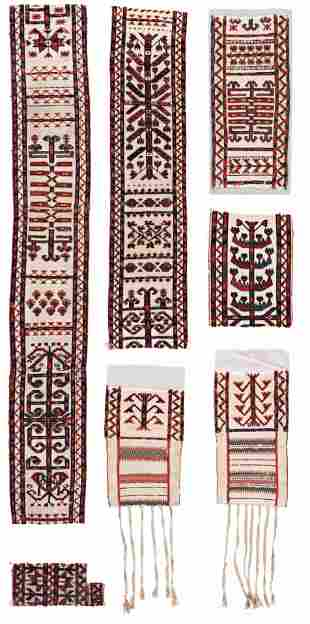 Seven Turkmen Tent Band Fragments