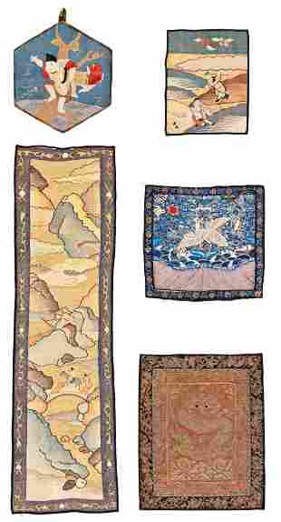 Five Chinese Silk Textiles