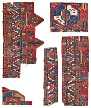 Five Fragments of an early Ersari Main Carpet