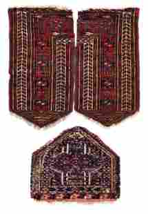 Two Fragments of a Tekke Khalyk and one Tekke Knee Pad