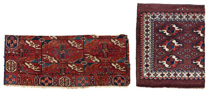 One Fragment of a Tekke Main Carpet and one Fragment of