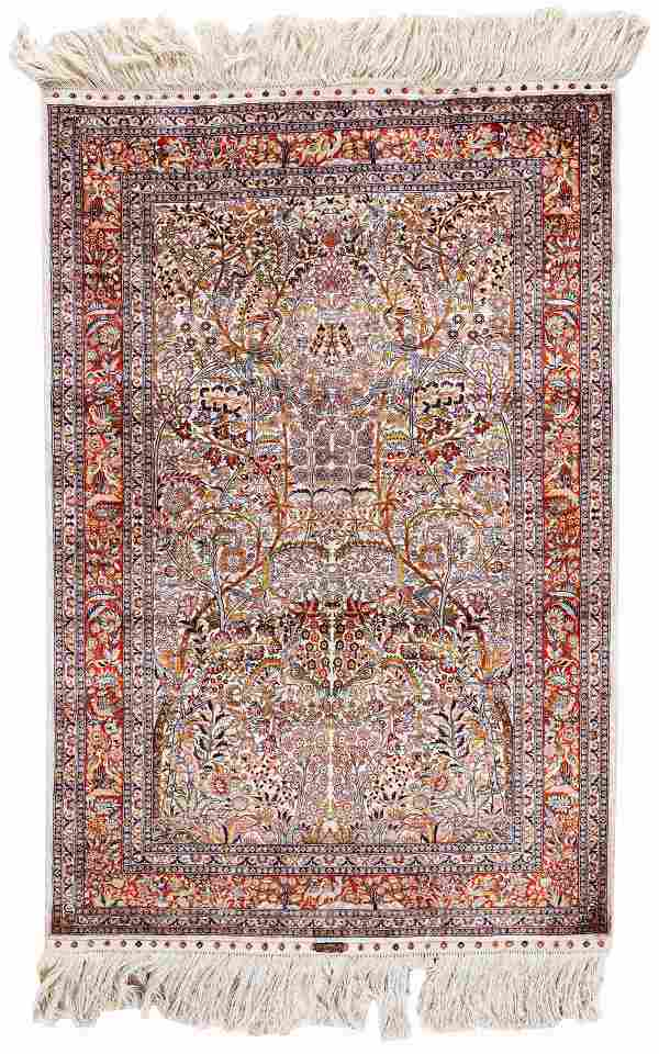 Signed Silk China Hereke Rug (16 x 16)