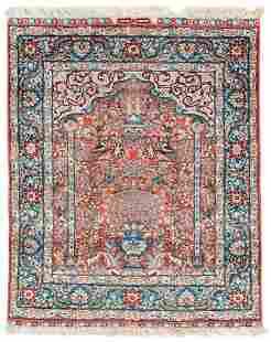 Signed Silk China Hereke Prayer Rug (10 x 10)