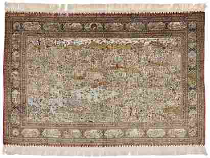 Signed Silk China Hereke Rug (18 x 18)