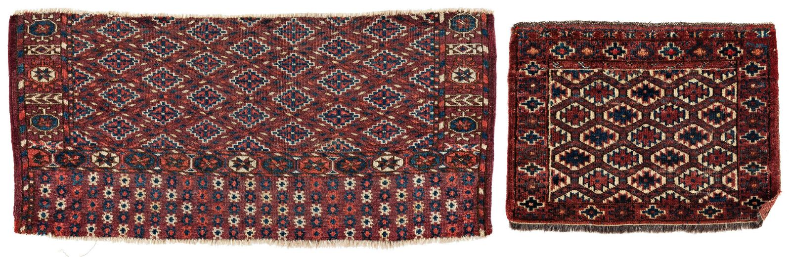 One Fragment of a Tekke Hearth Rug and one Yomut Bag