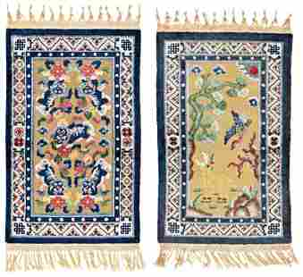 Two chinese Silk Rugs with metal threads