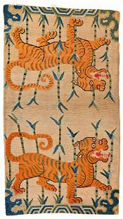 Tibet Sitting Rug with Tigers in Bamboo