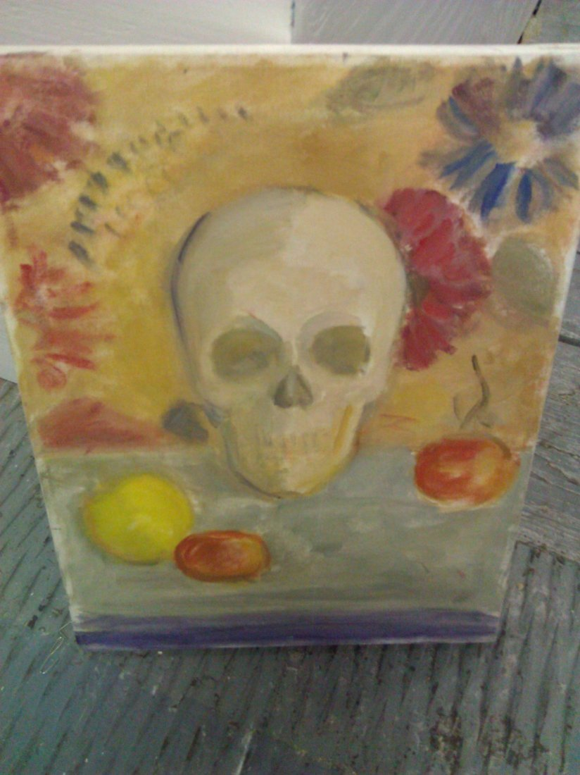 Unsigned Skull Painting – Oil on Canvas