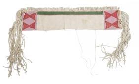 NATIVE AMERICAN PLATEAU BEADED HIDE SADDLE BAG