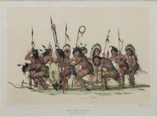 GEORGE CATLIN 'WAR DANCE' HAND COLORED LITHOGRAPH