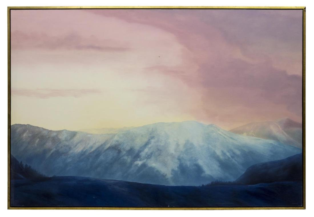 FRAMED OIL PAINTING, ROSY MOUNTAIN SUNRISE, CONRAD