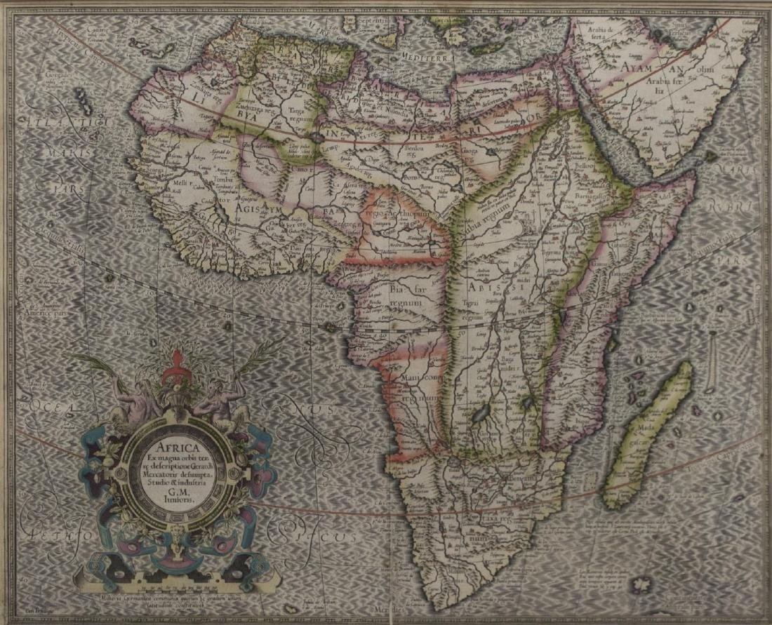 ANTIQUE MAP OF AFRICA, GERHARD MERCATOR JR.17TH C