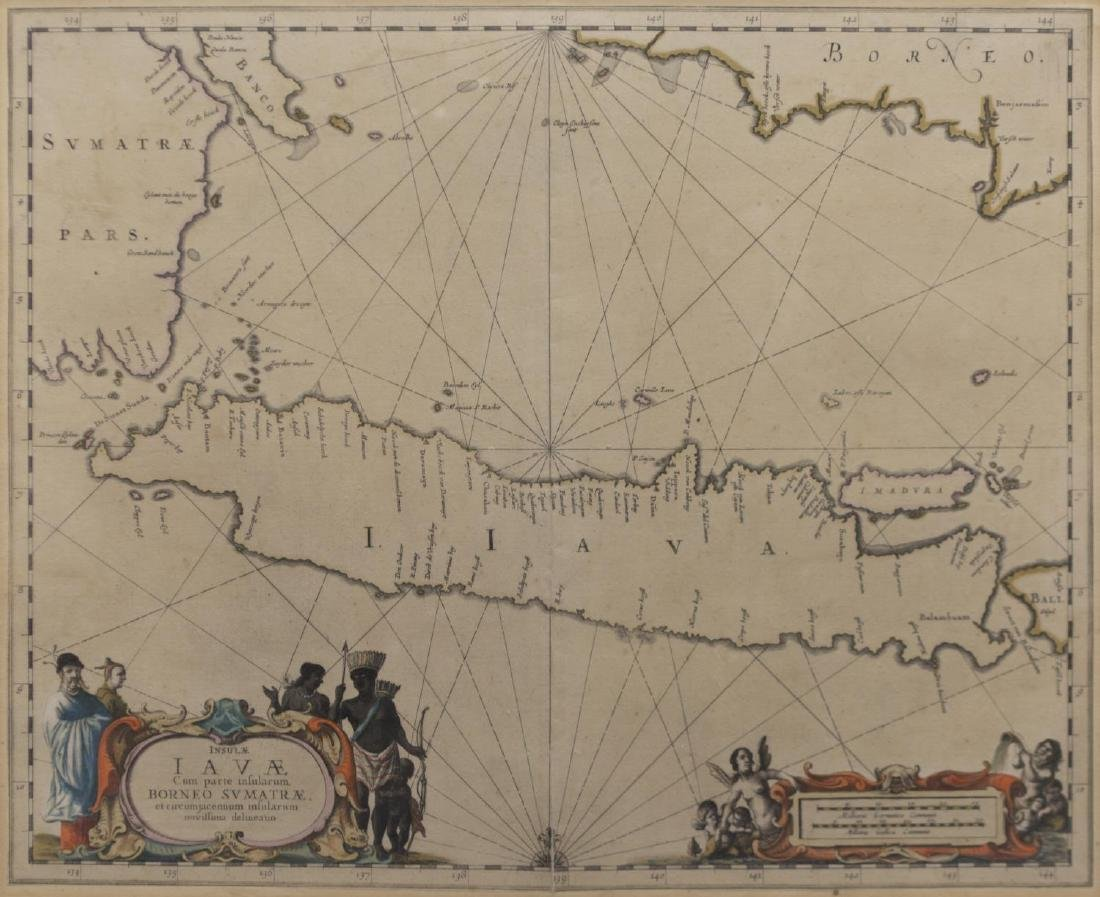 ANTIQUE MAP OF ISLE OF JAVA, JAN JANNSON 17TH C