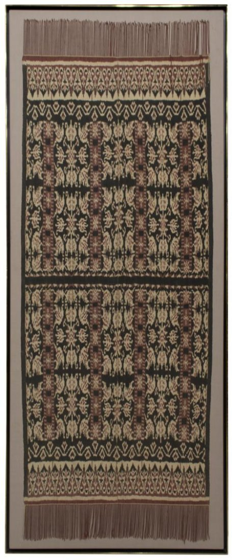 LARGE FRAMED MOUNTED WOVEN FRINGED TEXTILE