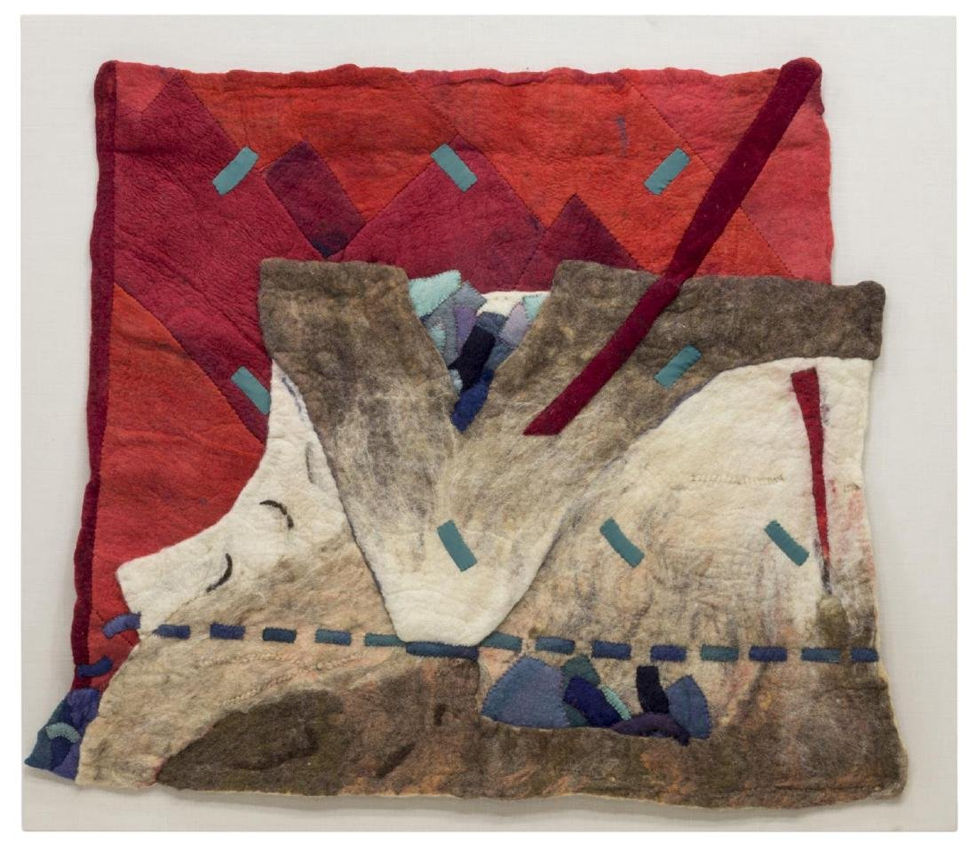 ABSTRACT FELTED WOOL LANDSCAPE HANGING ARTWORK