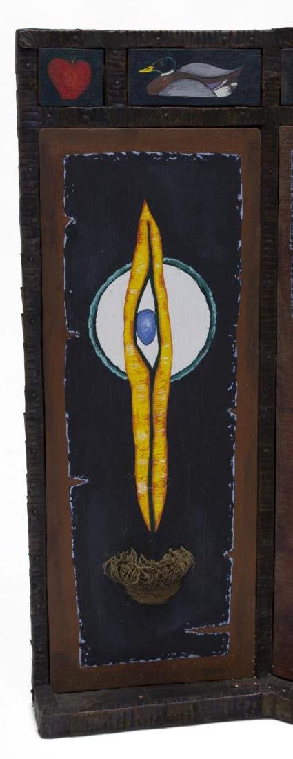 """MIXED MEDIA TRIPTYCH, """"TREBLE CLEF"""", INITIALED WC - 3"""