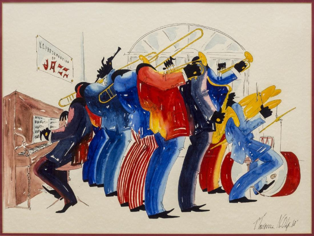 FRAMED WATERCOLOR, NEW ORLEANS JAZZ BAND TALTAVULL