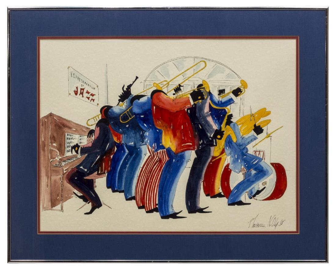 FRAMED WATERCOLOR, NEW ORLEANS JAZZ BAND TALTAVULL - 2