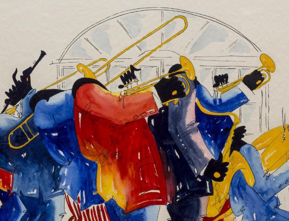 FRAMED WATERCOLOR, NEW ORLEANS JAZZ BAND TALTAVULL - 3