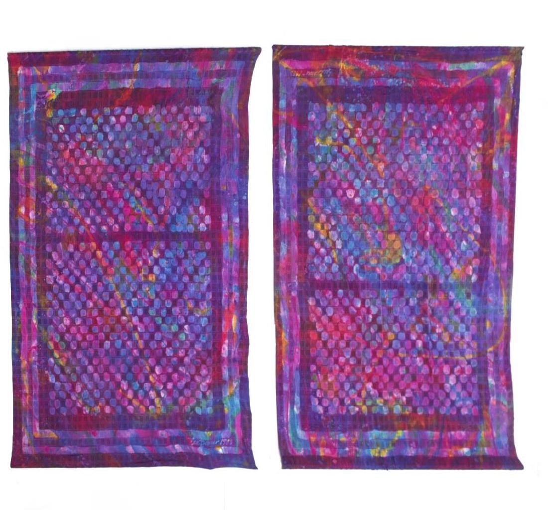 (2) SUE BENNER HAND DYED SILK WALL HANGINGS, 1983