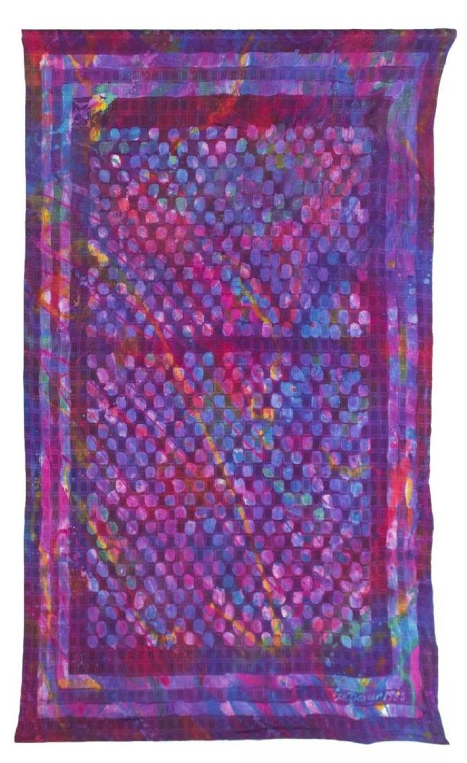 (2) SUE BENNER HAND DYED SILK WALL HANGINGS, 1983 - 2