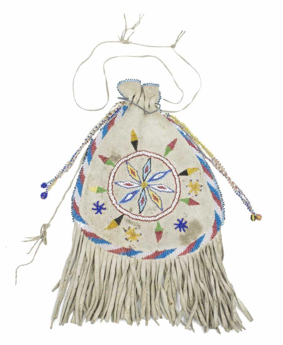 NATIVE AMERICAN APACHE BEADED FRINGED POUCH BAG