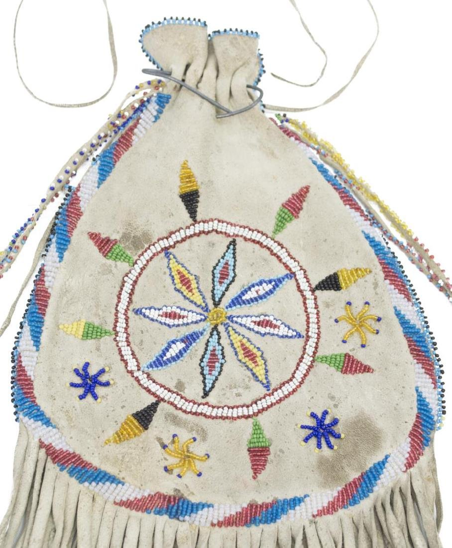 NATIVE AMERICAN APACHE BEADED FRINGED POUCH BAG - 2