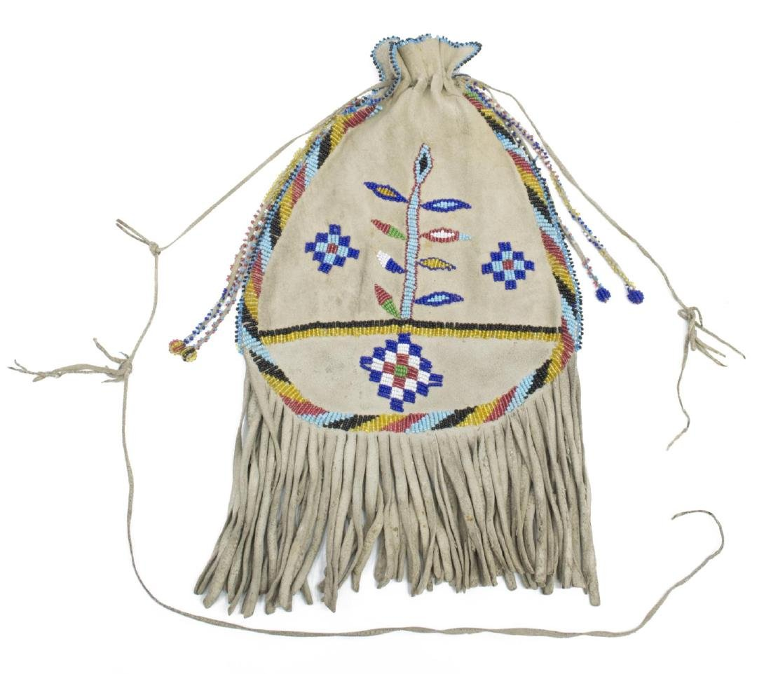 NATIVE AMERICAN APACHE BEADED FRINGED POUCH BAG - 3