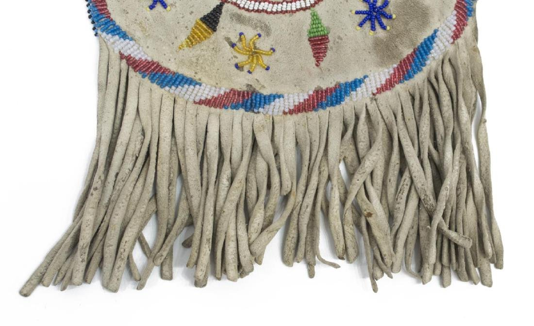 NATIVE AMERICAN APACHE BEADED FRINGED POUCH BAG - 5