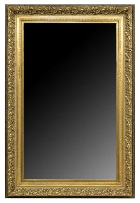 LARGE ANTIQUE CARVED GILTWOOD WALL MIRROR