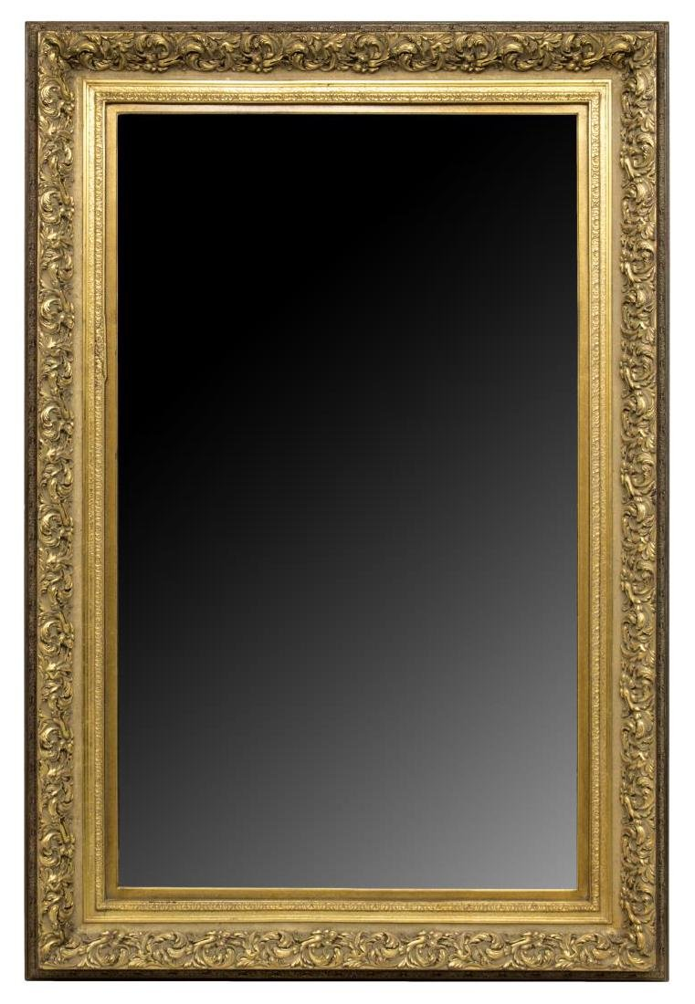 LARGE ANTIQUE STYLE CARVED GILTWOOD WALL MIRROR