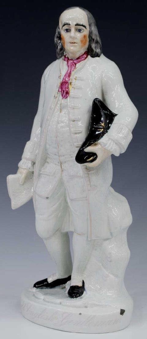 19TH C. STAFFORDSHIRE FIGURE, BENJAMIN FRANKLIN