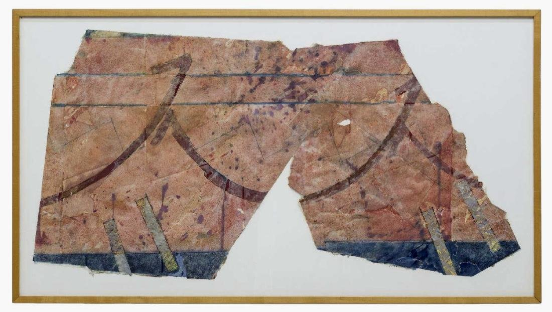 FRAMED ABSTRACT MIXED MEDIA PAPER ART, 20TH C