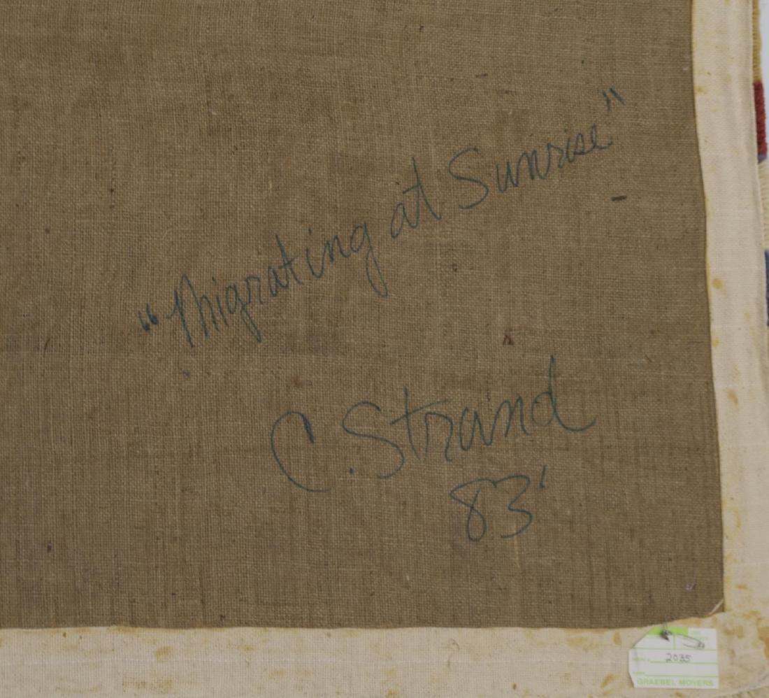 "C. STRAND TEXTILE RUG, ""MIGRATING AT SUNRISE"" - 6"