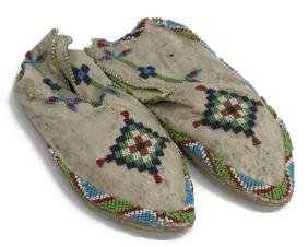(2) NATIVE AMERICAN BEADED HIDE MOCCASINS