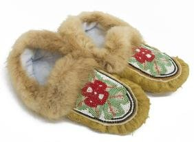 (2) ATHABASCAN CHILD'S BEADED HIDE & FUR MOCCASINS