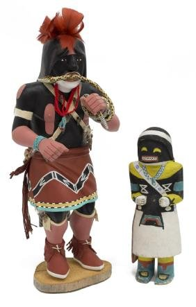 (2) NATIVE AMERICAN CARVED KACHINA DOLLS, HOYESVA
