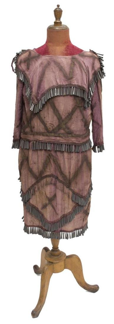 NATIVE AMERICAN PAINTED CLOTH TIN CONE DRESS