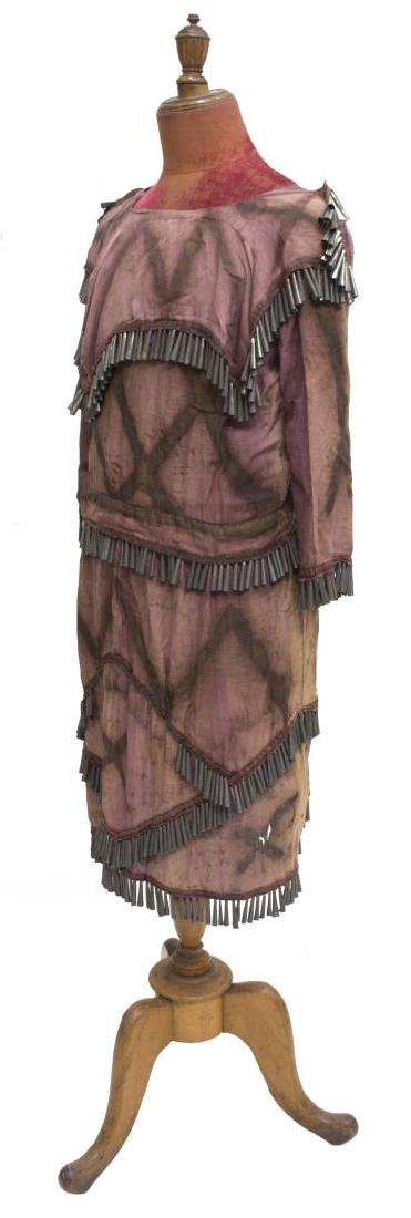 NATIVE AMERICAN PAINTED CLOTH TIN CONE DRESS - 2