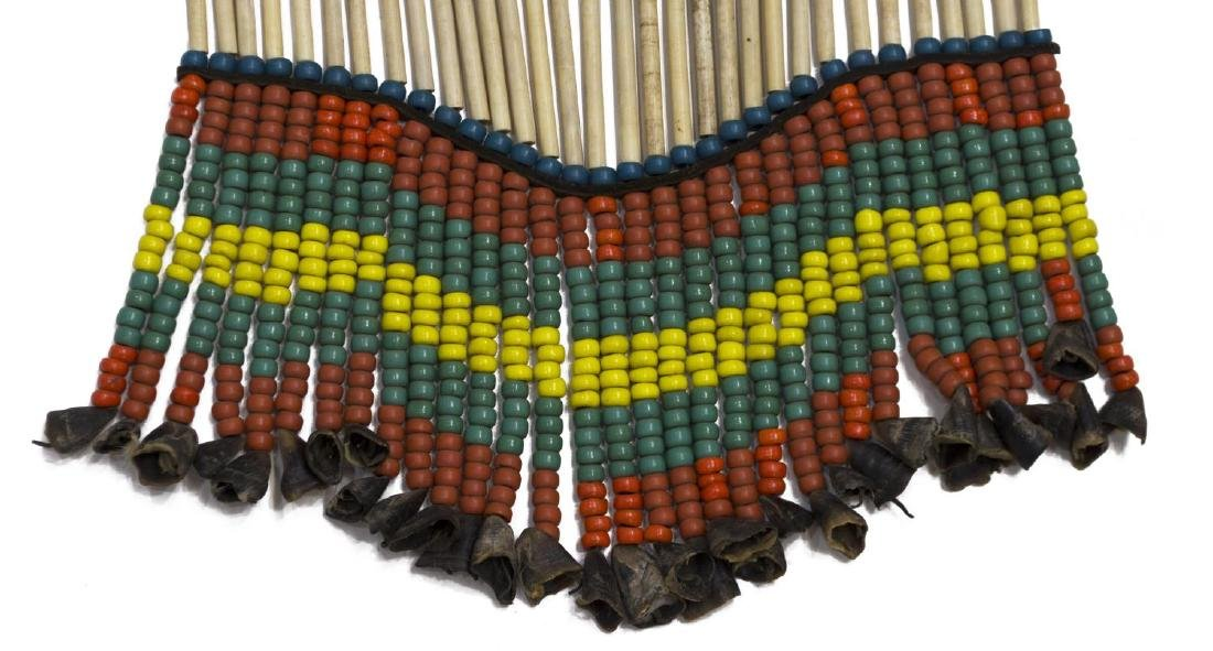 NATIVE AMERICAN BEADED BUFFALO & BONE BREASTPLATE