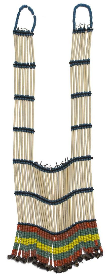NATIVE AMERICAN BEADED BUFFALO & BONE BREASTPLATE - 2