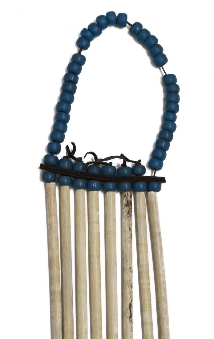 NATIVE AMERICAN BEADED BUFFALO & BONE BREASTPLATE - 4