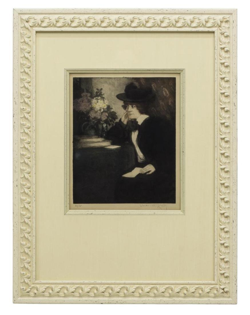 MANUEL ROBBE COLOR AQUATINT, WOMAN WITH LETTER